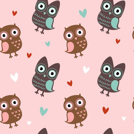 Valentine love seamless texture with cute owls and hearts, endless romantic pattern.