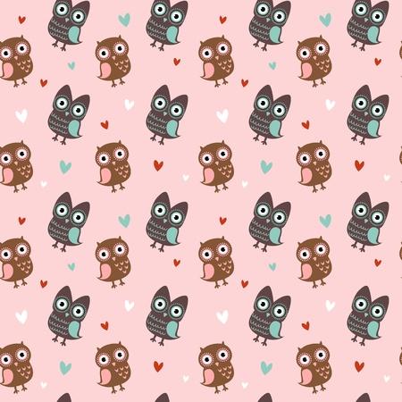 cute wallpaper: San Valent�n encanta la textura sin fisuras con los b�hos lindos y los corazones, el patr�n rom�ntico fin.