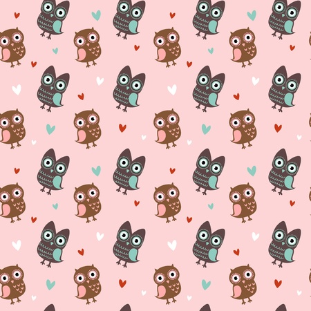 wrapping animal: Valentine love seamless texture with cute owls and hearts, endless romantic pattern.