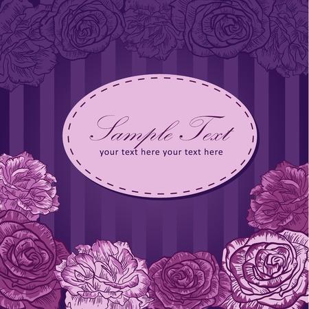 backdrop: Valentine flower stripe invitation love card with roses Illustration