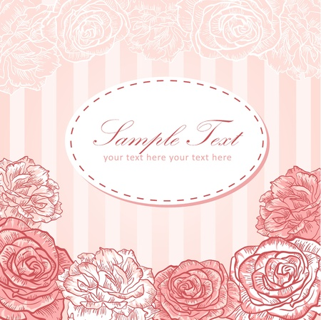 Valentine flower stripe invitation love card with roses Illustration