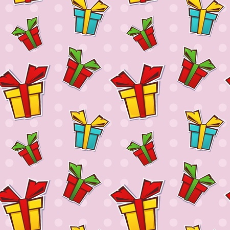 Seamless repeating pattern with colorful gift boxes and ribbons on a dotted background Vector