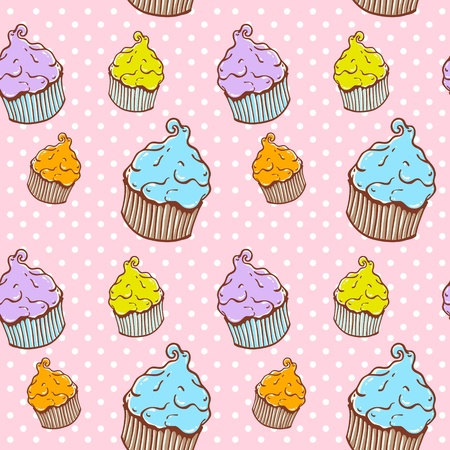Cute vintage cupcake seamless texture with polka dot on the backdrop