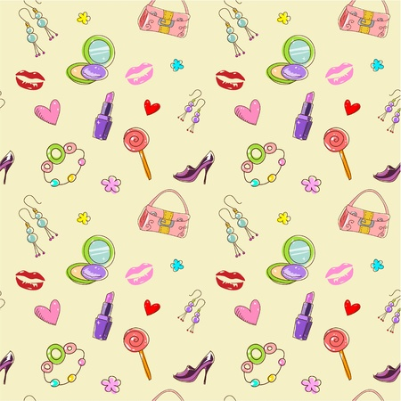 Girls seamless texture with fashion acessories, shoes, bag and lipstick Vector