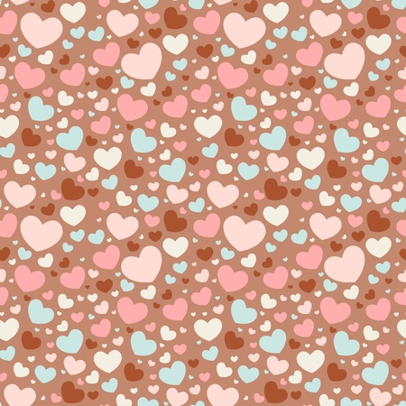 かわいいバレンタイン愛のシームレスなパターン カラフルな心を持つ