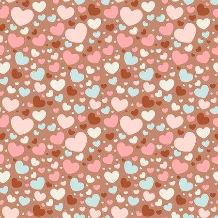 Lindo día de San Valentín el amor patrón transparente con corazones de colores Ilustración de vector