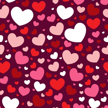 Cute Valentine love seamless pattern with colorful hearts Illustration