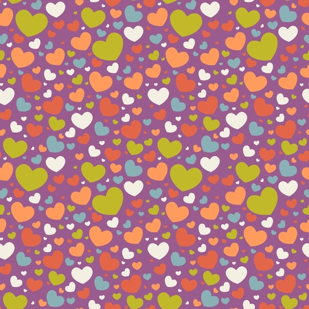 Cute Valentine love seamless pattern with colorful hearts Stock Vector - 11862251