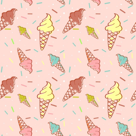 ice cream cone: Colorful melting ice-cream seamless pattern with confetti