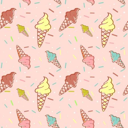 helado caricatura: De fusión de colores de helados sin patrón de confeti
