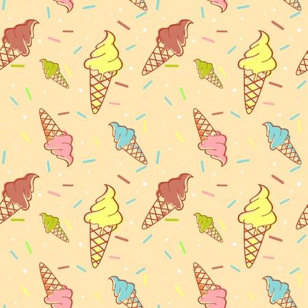 와플: 색종이와 다채로운 녹는 아이스크림 원활한 패턴 일러스트