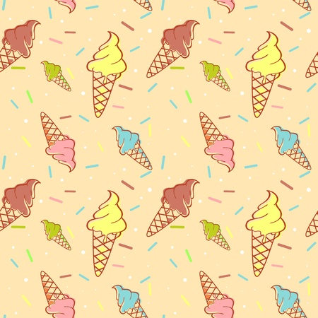 Colorful melting ice-cream seamless pattern with confetti Vector