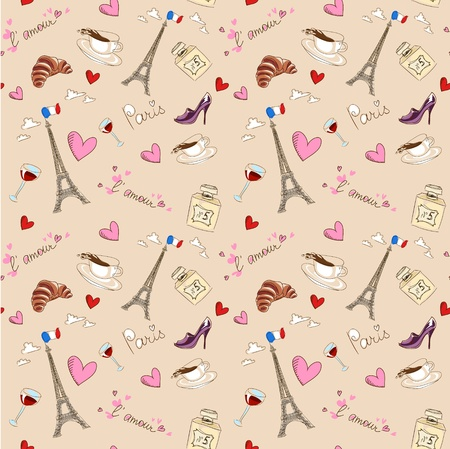 french wine: Paris seamless pattern with coffee, hearts and eiffel tower