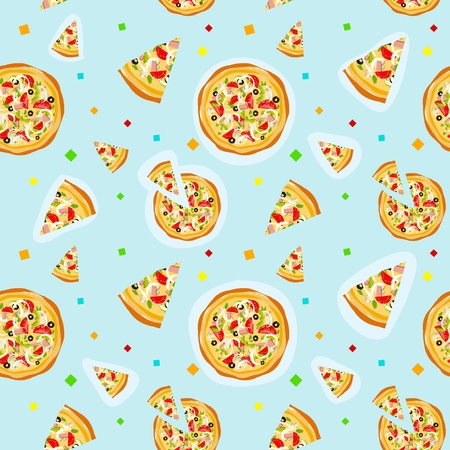 Seamless colorful cartoon pizza texture with confetti Illustration