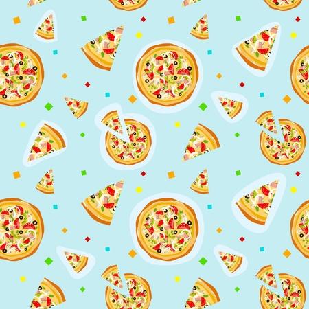 cartoon pizza: Seamless colorful cartoon pizza texture with confetti Illustration