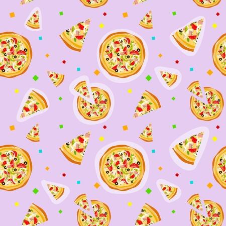pepperoni pizza: Seamless colorful cartoon pizza texture with confetti Illustration