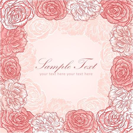 Valentine flower stripe invitation love card with roses Stock Vector - 11862309