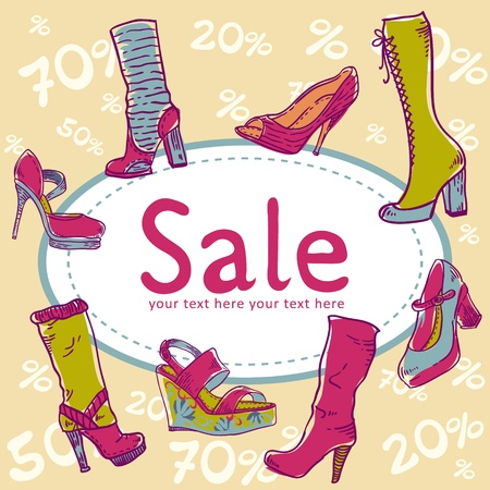 Sale discount woman shoes invitation card on seamless background Vector