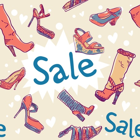 Sale discount woman shoes seamless colorful texture Vector