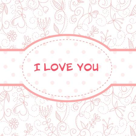 postcard: Lovely Valentines Day heart floral invitation postcard Illustration