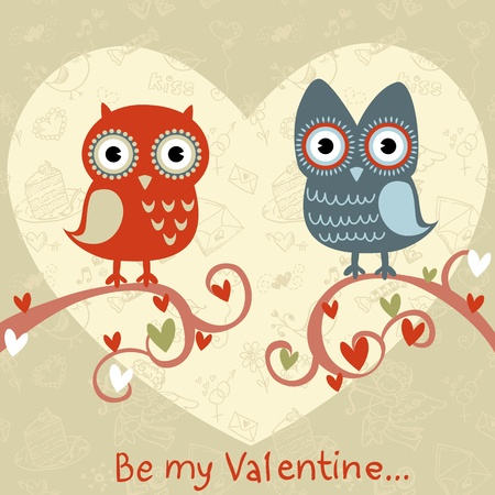 Valentine love card with cute romantic owls and hearts
