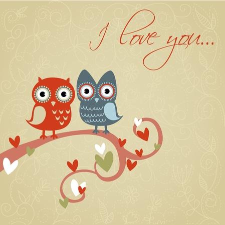 San Valent�n Amor tarjeta con lindos los b�hos y los corazones rom�nticos Foto de archivo - 11862322