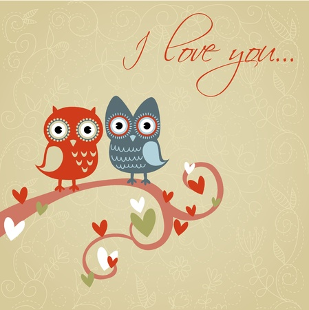 love birds: Valentine love card with cute romantic owls and hearts