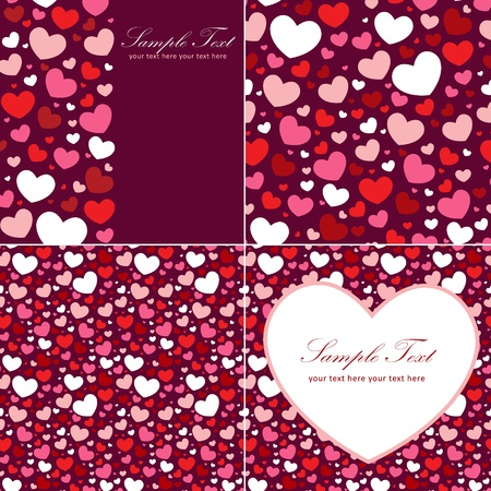 Cute Valentine heart set of congratulation cards and seamless backgrounds Illustration