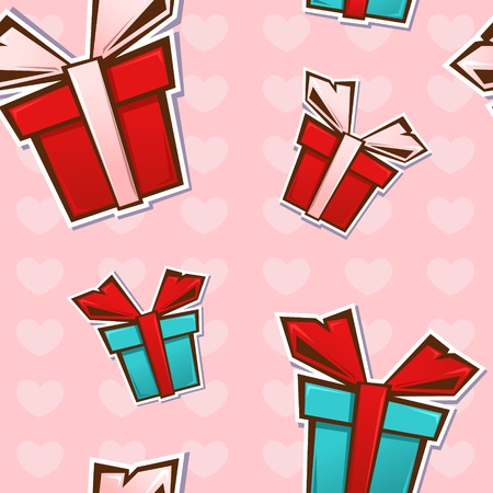 Seamless repeating pattern with colorful gift boxes and ribbons on a heart dots background Vector