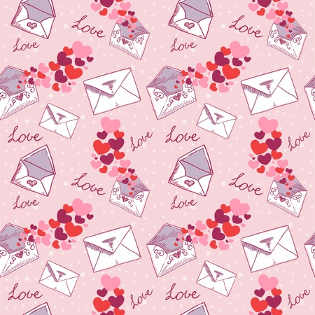 Love letter Valentine seamless texture with confetti hearts Stock Vector - 11941515