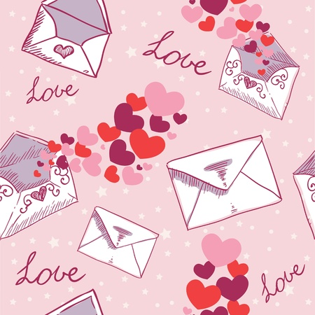 Love letter Valentine seamless texture with confetti hearts Illustration