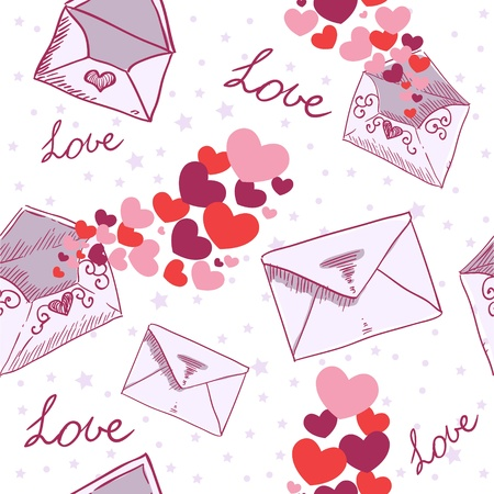 Love letter Valentine seamless texture with confetti hearts Stock Vector - 11941502