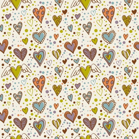 Cute doodle seamless wallpaper with hand drawn Valentine hearts Stock Vector - 11941511