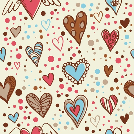 vintage wallpaper: Cute doodle seamless wallpaper with hand drawn Valentine hearts Illustration
