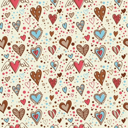 Cute doodle seamless wallpaper with hand drawn Valentine hearts Illustration