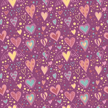 Cute doodle seamless wallpaper with hand drawn Valentine hearts Vector