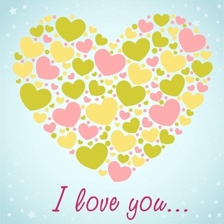 Cute Valentine love congratulation card with border of hearts Vector