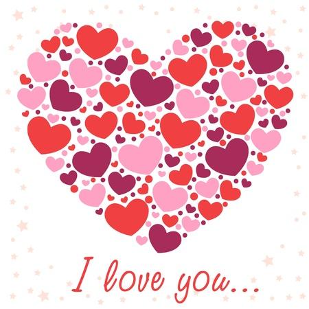 Lindo día de San Valentín el amor tarjeta de felicitación con la frontera de los corazones Ilustración de vector