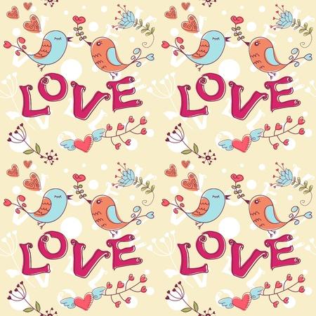 Amor textura sin fisuras con flores y pájaros, el patrón de flores sin fin.