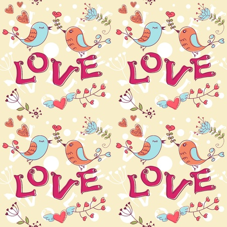 love image: Love seamless texture with flowers and birds, endless floral pattern. Illustration
