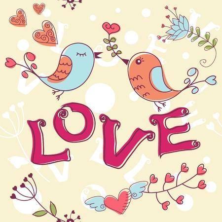love wallpaper: Love textura sin fisuras con flores y p�jaros, el patr�n de flores sin fin.