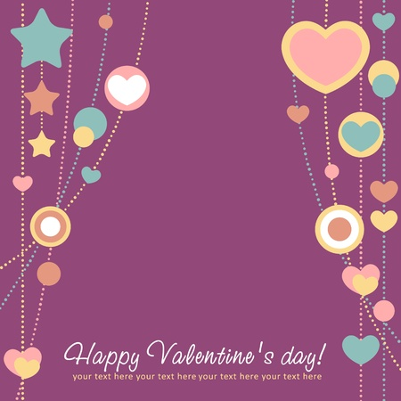 congratulation card: Cute Valentine love congratulation card with border of hearts Illustration