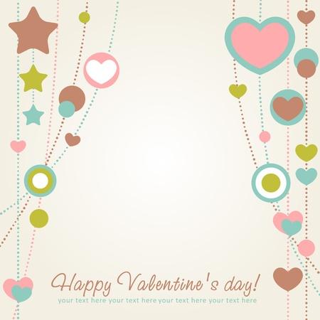 Carino Valentine Love card congratulazioni con bordo di cuori Archivio Fotografico - 11986988