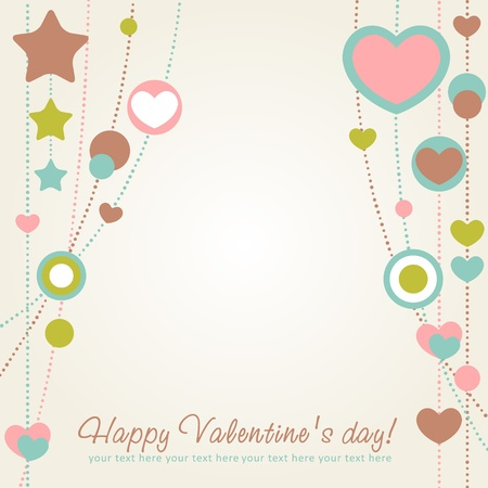 honeymoon: Cute Valentine love congratulation card with border of hearts Illustration