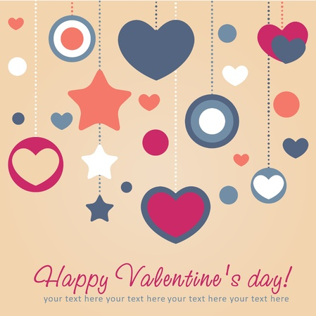 Cute Valentine love congratulation card with border of hearts Stock Vector - 11986977