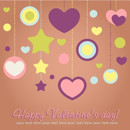 Cute Valentine love congratulation card with border of hearts Stock Vector - 11986985