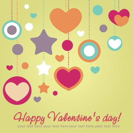 かわいいバレンタイン愛の心の境界線とのお祝いカード  イラスト・ベクター素材