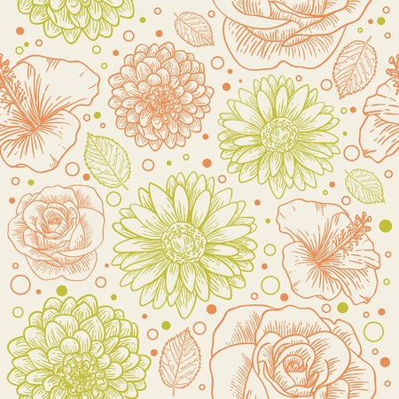 Floral seamless retro pattern with hand drawn flowers and dots Stock Vector - 12412853
