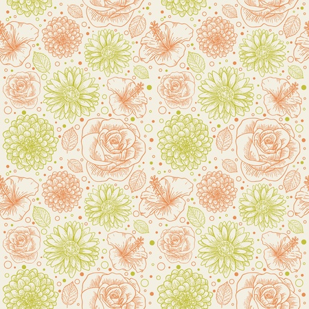 Floral seamless retro pattern with hand drawn flowers and dots Stock Vector - 12412859