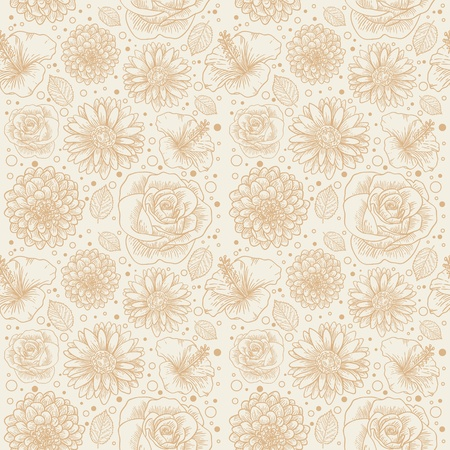 Floral seamless retro pattern with hand drawn flowers and dots Stock Vector - 12412858